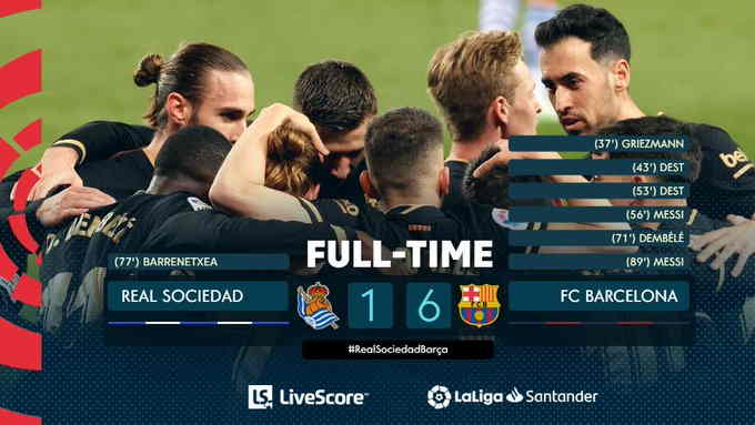 Hasil Real Sociedad vs Barcelona 22 Maret 2021
