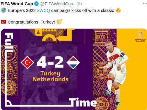 Hasil Turki vs Belanda 4-2