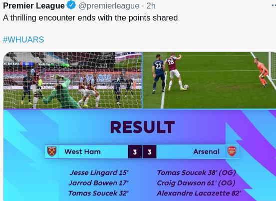 Hasil West Ham vs Arsenal tadi malam