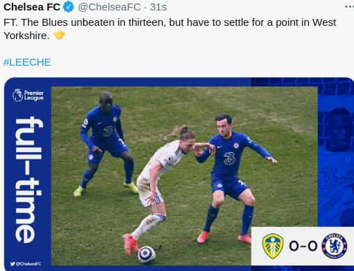 Leeds United vs Chelsea 0-0