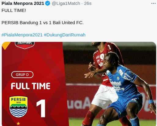 Skor Akhir Persib vs Bali United