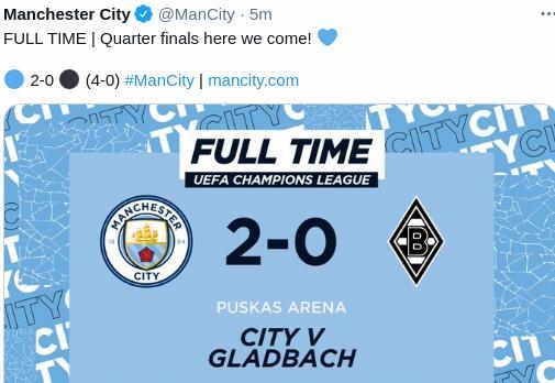Hasil Manchester City vs Monchengladbach skor akhir 2-0