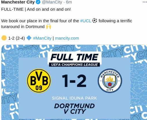 Hasil Borussia Dortmund vs Manchester City 1-2 Leg 2