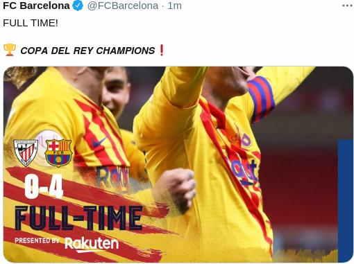Hasil Final Copa Del Rey 2020-2021 Barcelona Juara