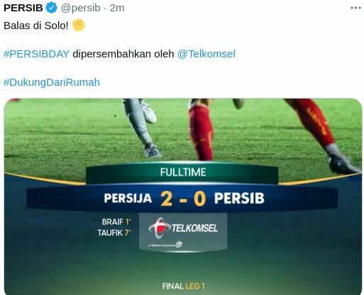 Hasil Leg 1 Final Piala Menpora Persija vs Persib