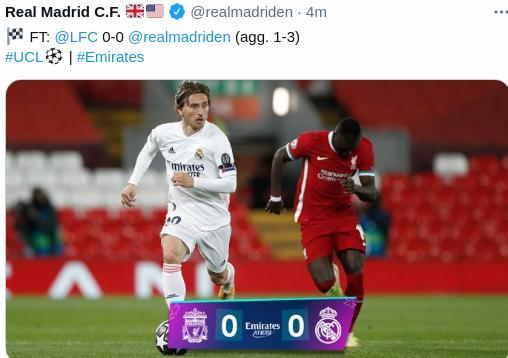 Hasil Liverpool vs Real Madrid 0-0 Leg 2
