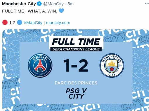 Hasil PSG vs Manchester City Leg 1 Semifinal UCL