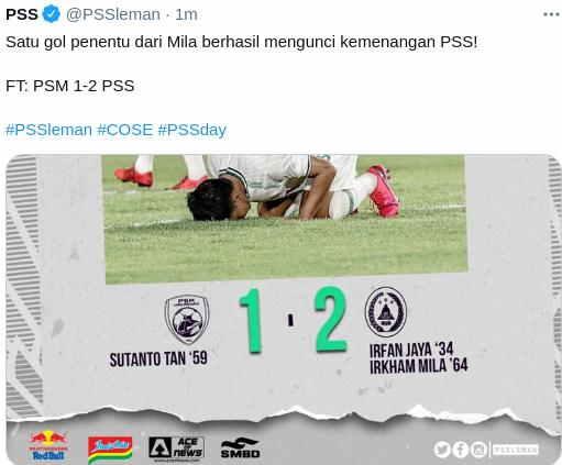 Hasil PSM makassar vs PSS Sleman