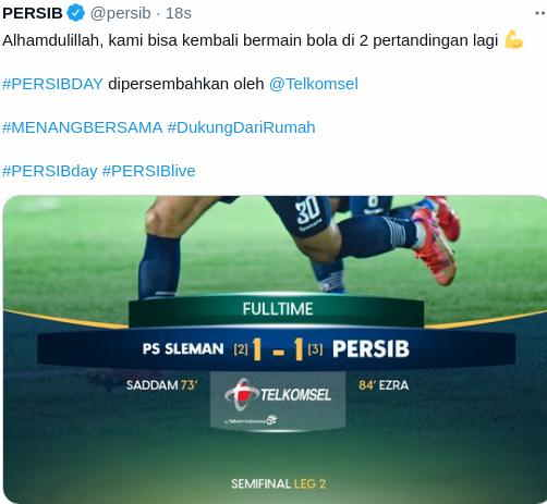 Hasil PSS vs Persib Leg 2 Semifinal Piala Menpora
