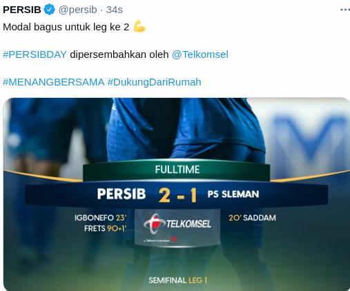 Hasil Persib Bandung vs PSS Sleman Leg 1
