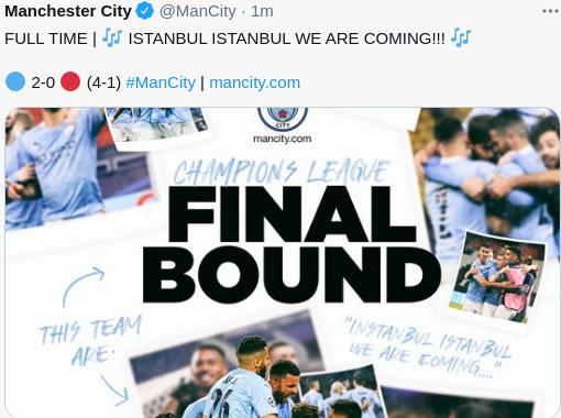 Hasil Manchester City vs PSG Leg 2 Semifinal UCL Tadi malam