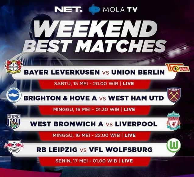 Jadwal Bola NET TV Pekan ini