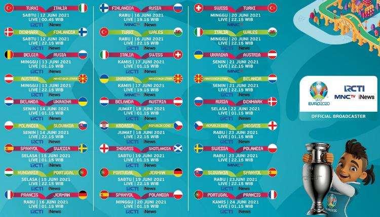 Jadwal Euro 2020 di RCTI, MNC TV, Inews TV