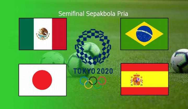 Semifinal Sepakbola Pria Olimpiade Tokyo, Spanyol, Brazil, Jepang dan Meksiko