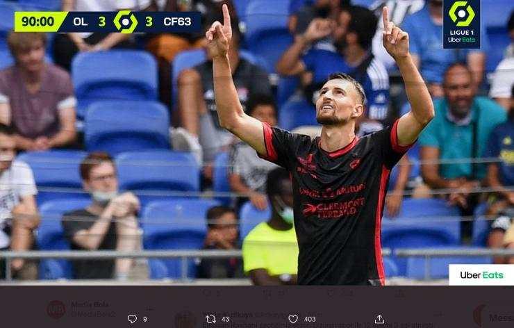 Lyon di Tahan Imbang Tim Promosi Clermont, Elbasan Rashani Jadi Mimpi Buruk Untuk Lyon
